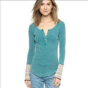 Almond, Royal Blue, /& Frosty Pink Alpine Cuff Thermal Top NWT Free People